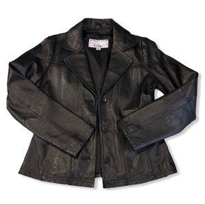 Wilson's Leather black blazer jacket, size Small